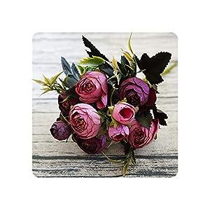 9 Head/Bouquet Mini Fake Tea Rose Peony Flowers for Home Wedding Decor Artificial Rose Flower Bouquet Bud for Room Decor,E 61