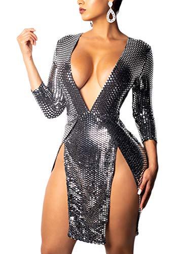 Cosygal Women's Sexy Sequined Deep V Neck 3/4 Sleeves High Waist Slit Mini Dress Silver ()