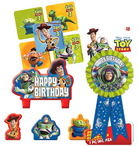 Toy Story Birthday Cake Candle Set & Buzz Lightyear Birthday Party Confetti Filled Ribbon for Guest of Honor! Plus Party Favor Stickers! ()