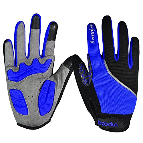 Ezyoutdoor Unisex Lycra Full Finger Outdoor Touch Screen Cycling Gloves with Shock-absorbing Gel Pad Breathable Touchscreen Bike Gloves (Blue, Large)