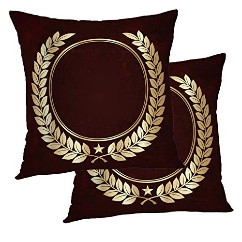 (BaoNews Leaf Floral Pillow Covers, Golden Laurel Wreaths Circle Symbol Gold Leaf Olive Throw Pillow Cover 18X18 Inch Cotton Square Cushion Decorative Pillow Case for Sofa Bed )