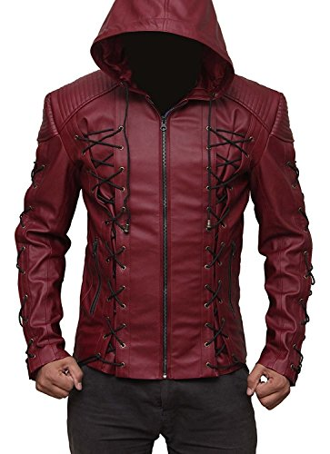 Mens Red Leather Jacket - Arrow Roy Harper Jacket (L)
