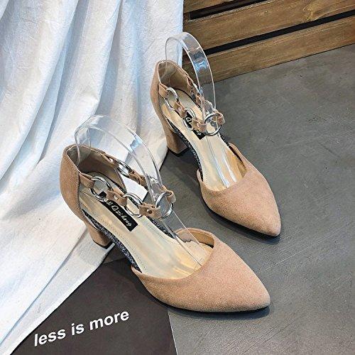 GAOLIM Primavera Zapatos De Mujer Zapatos De Mujer Los Zapatos De Tacón Alto Con Gruesos Huecos Sujetadores Ranurado Con La Punta De La Boca Superficial Zapatos Única Hembra Beige