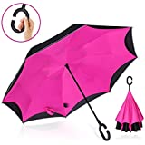 Vitchelo Inverted Umbrella with Hands Free C Handle. Windproof Double Layer Reverse Umbrellas with Fiberglass Ribs & Carbon Fiber Shaft Best for Travel, Golf, Rain & Car Use