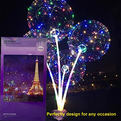 LED balloons Latest design! 20 inches - 8 pack with 8 sets 3 modes colorful Fairy LED strings inflatable with Helium ()
