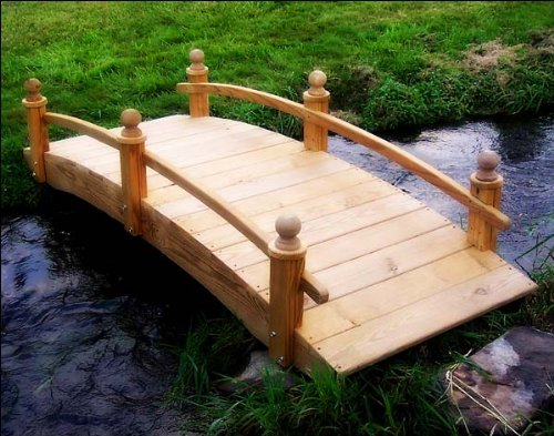 10' Treated Pine Amelia Single Rail Garden Bridge with Stain by Fifthroom