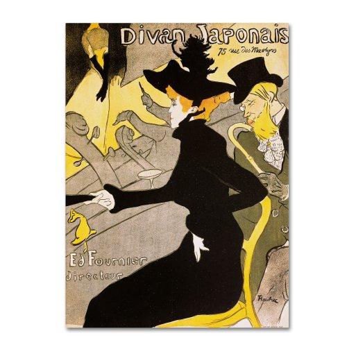 Trademark Fine Art Divan Japonais Artwork by Henri Toulouse-Lautrec, 35 by 47-Inch Canvas Wall Art ()