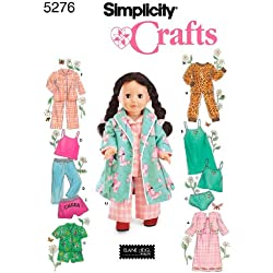 Simplicity Sewing Pattern 5276 Doll Clothes, One Size