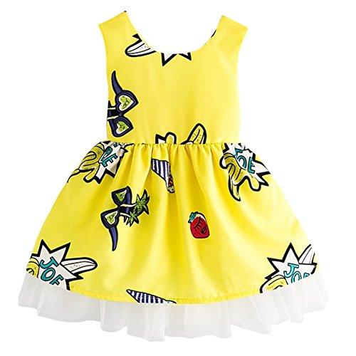 Abito Principessa Poco Giallo Ragazze Cartoon Weixinbuy Playwear Prendisole Scollato zHng4