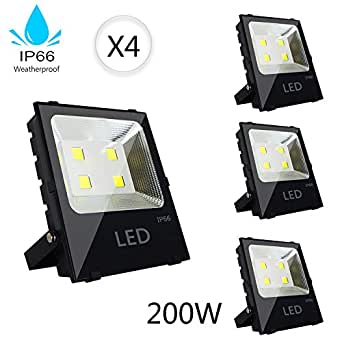 200W LED Flood Light Outdoor Security Light Weatherproof Parking Lot Warehouse Lighting Fixture 1000W Halogen Equivalent, 5500k Daylight White,High Power 26000lm, Residential/Commercial Use-4 Pack