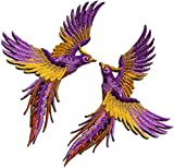 Phoenix phenix birds violet purple yellow gold embroidered appliques iron-on patches pair S-1341