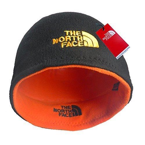 Reversible Cap Black Beanie (The North Face Winter Thicken Polar Fleece Knit Ski Reversible Beanie (Black/Orange, One Size))
