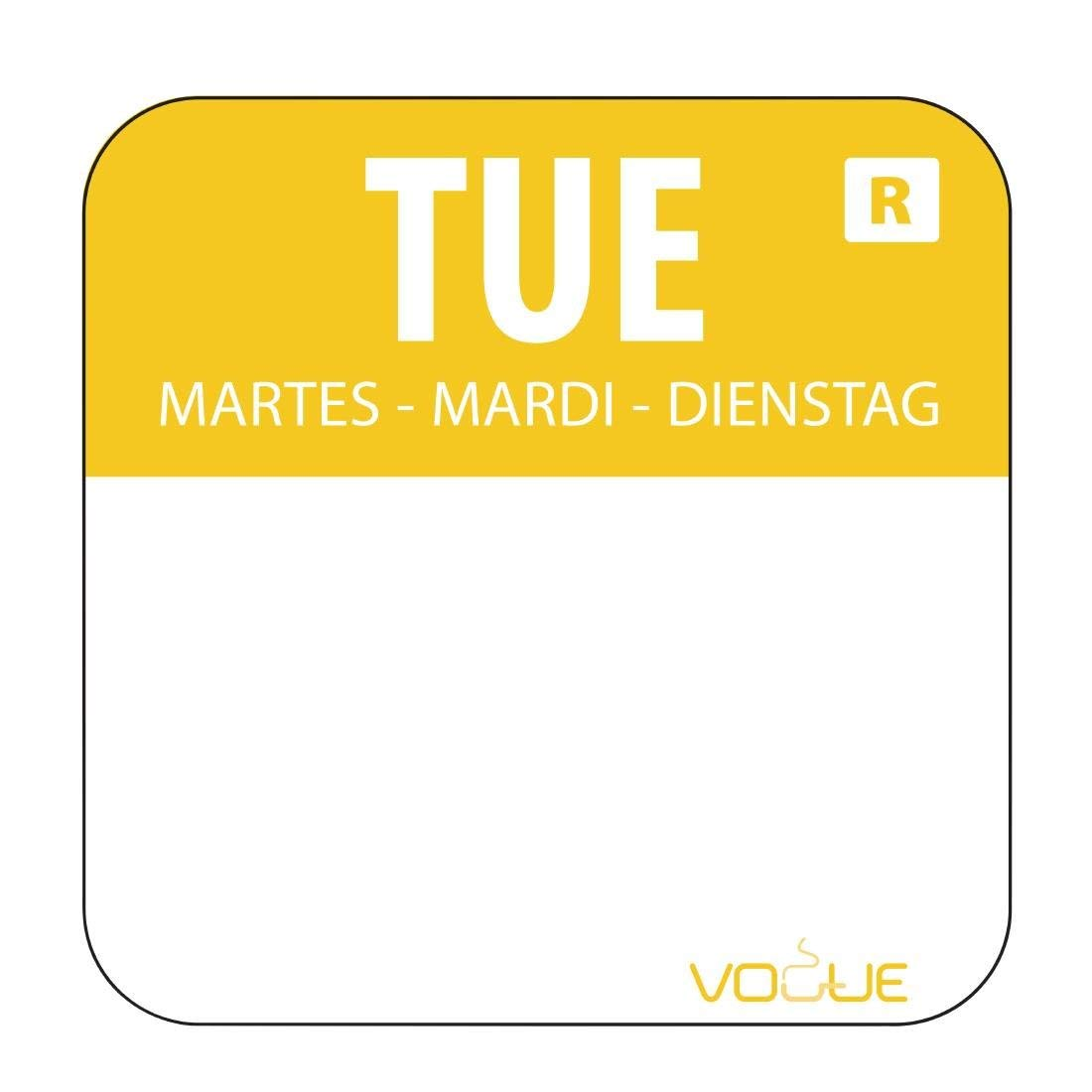 Day Of The Week Labels Removable Tuesday Tuesday - Yellow. 1000 labels per roll