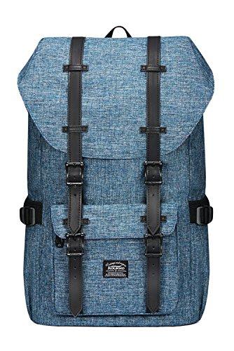 "Kaukko Laptop Outdoor Backpack, Travel Hiking& Camping Rucksack Pack, Casual Large College School Daypack, Shoulder Book Bags Back Fits 15"" Laptop & Tablets (1Linen Blue)"
