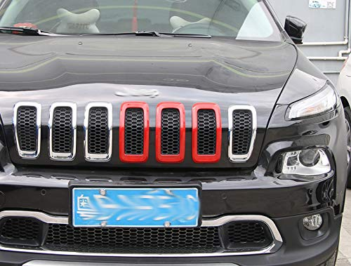 ABS Red Car Front Insert Mesh Grill Decoration Frame 3PCS for Jeep Cherokee 2014-2016
