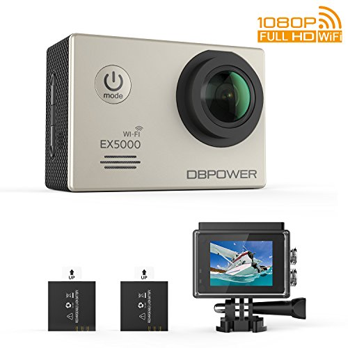 Dbpower Ex5000 Sports Camera 2 0 Wifi 14Mp Hd 1080P Waterproof Action Camera With Extra Battery And 170 Wide Angle Fisheye Lens