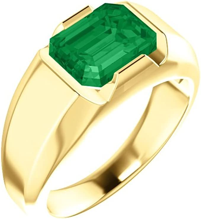 Details about  /Mens Vintage Solitaire Lab Emerald Stainless Steel Engagement Ring Size 7 —12