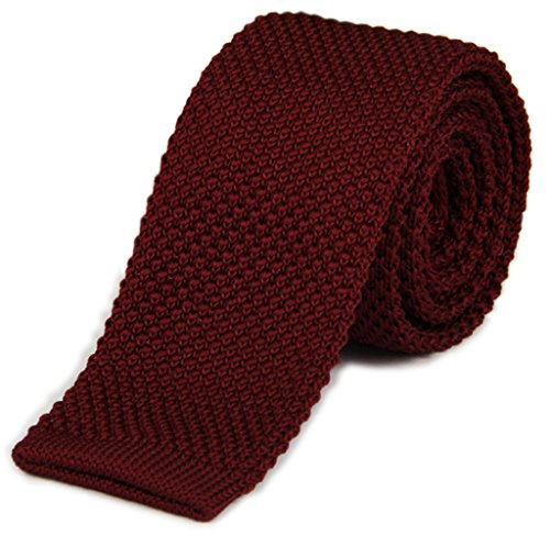 (Tigre Amore Men's Skinny Knit Tie Solid Dark Red)