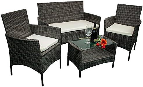 AVANTI TRENDSTORE – Andria – Set di mobili da Giardino in ecorattan, 2 poltrone Singole, 1 Poltrona a 2 posti e 1 Tavolo