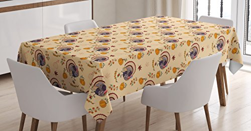 Rectangular Maple Dining Room - Ambesonne Country Tablecloth, American Style Turkey Pumpkin Seeds Cranberry Maple Fall Season Rustic Life, Dining Room Kitchen Rectangular Table Cover, 60 W X 90 L inches, Multicolor