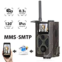 Suntek 3G Camera de Chasse GSM SMS 16MP 1080P Hunting Trail Camera avec 28 Infrarouges LEDs Vision Nocturne Infrarouge 65pied 120° PIR Grand Angle, HC550G