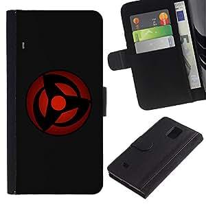 EuroCase - Samsung Galaxy Note 4 SM-N910 - Red Sphere - Cuero PU Delgado caso cubierta Shell Armor Funda Case Cover