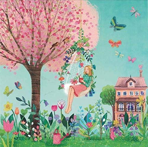 """""""Mila Marquis"""": Frau liest im Garten, Glitzer Größe: 14x14cm"""