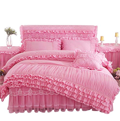 Lotus Karen Rose Princess Bed Sets Multi Layers Ruffles with Lace Girls Bedding Set Romantic Korean Style Bed Cover Set for Girls (1Duvet Cover, 1Bedskirt, 2Pillowcases) (Ruffle Set Bedding)