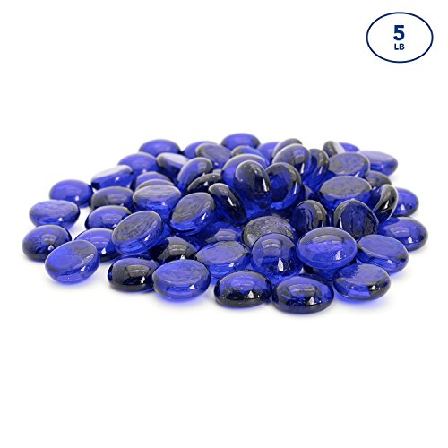 Red Stone Royal (Blue Flat Marbles, Pebbles, Glass Gems for Vase Fillers, Party Table Scatter, Wedding, Decoration, Aquarium Decor, Crystal Rocks, or Crafts by Royal Imports, 5 lbs (Approx 400 pcs))