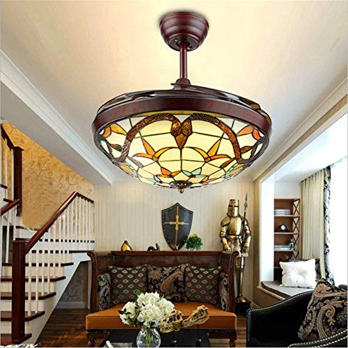 Frequency Conversion Retractable Ceiling Fans Light with Remote Control 4-Blade Dimmable 3-Color Change Invisible Ceiling Fan Chandelier 42 Inch Style 1