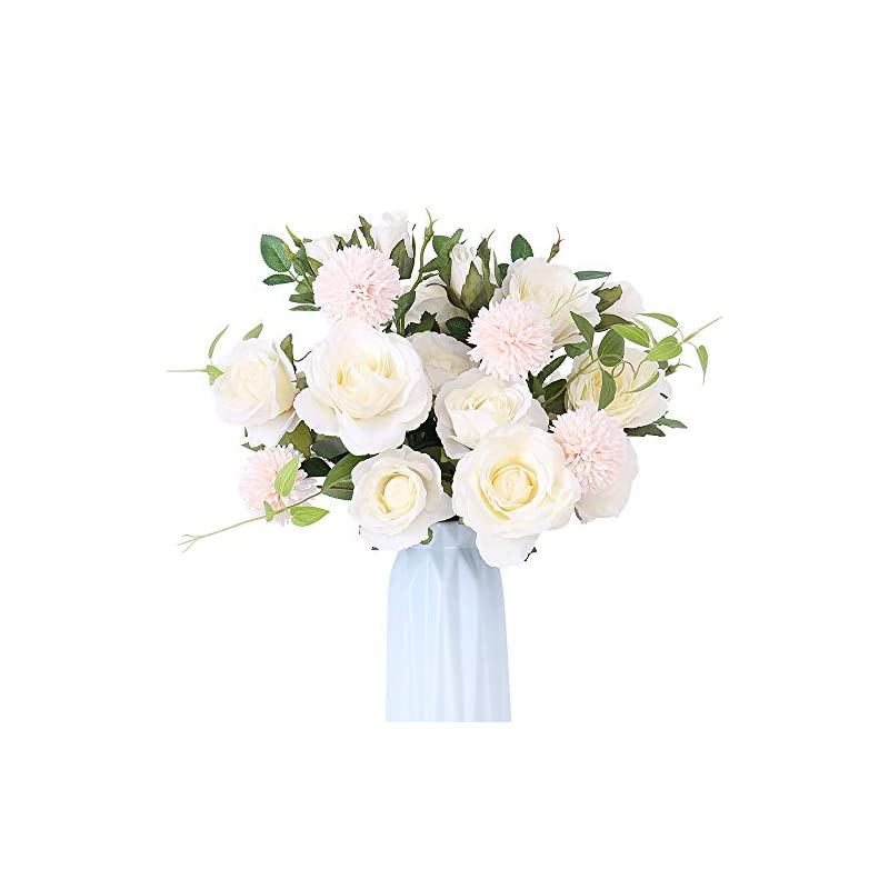 silk flower arrangements yiliyajia artificial rose flowers bouquets silk rose fake hydrangea for wedding home office table decoration (white)