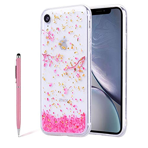 SKYXD Flower Case for iPhone Xr Pink Cherry Blossom Printed Floral Luxury Bling Gold Foil Soft Ultra-Thin Clear Protective Case Shockproof Plastic Cover for iPhone Xr,Petal ()