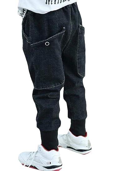 86d58ad9e Amazon.com: Etecredpow Big Boy' Denim Big Pockets Jean Harem Casual Jogging  Pants: Clothing