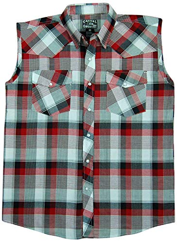 Men's Classic Plaid Sleeveless Western Shirt | Snap-Front (Large, Red (34))