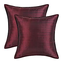 Pack of 2, CaliTime Silky Throw Pillow Covers Cases for Couch Sofa Bed, Modern Light Weight Dyed Striped, 20 X 20 Inches, Burgundy