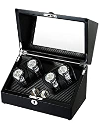 Wooden Double Rotors Automatic Watch Winder Storage Boxes for 4 Watches with LED Light