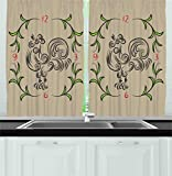 Cheap Ambesonne Kitchen Decor Collection, Rooster and floral art decorative clock time swirls leaves farm Animal theme decoration, Window Treatments for Kitchen Curtains 2 Panels, 55X39 Inches, Grey Green