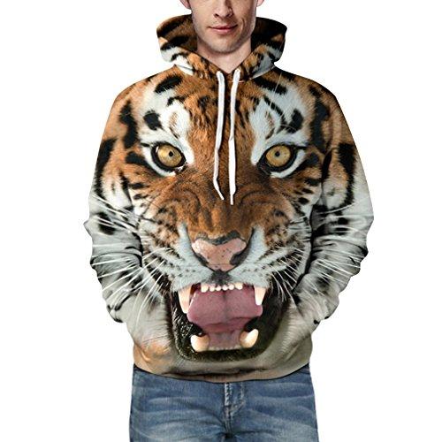 Tigers Womens Hoodie Sweatshirt - YISUMEI Unisex Thin Hoodie Hooded Sweatshirt 3D Print Tiger Small
