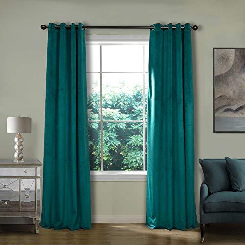 ned Premium Velvet Curtain Everlade Teal 50Wx96L Inch (1 Panel), Eyelet Grommet for Livingroom Bedroom Theater Studio, Birkin Collection ()