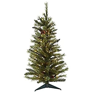 Nearly Natural 5441 Christmas Tree with Pine Cones and Clear Lights, 3-Feet, Green 8