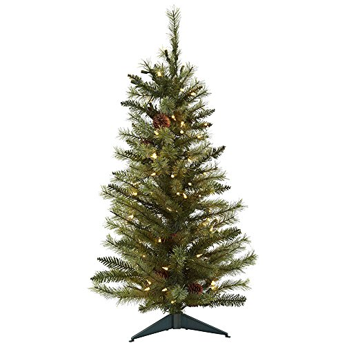 Wide Light 3 Pinecone (Nearly Natural 5441 Christmas Tree with Pine Cones and Clear Lights, 3-Feet, Green)