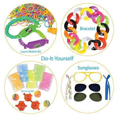 DIY Creativity Set by ArtCreativityTM - 4 Fun Creative Do-It-Yourself Craft Projects - Includes 9pc Sunglasses Kit, 300pc Loom Watch Kit, 28pc Bracelet Kit & Bouncy Ball Kit - Unique - Make How Sunglasses To Paper