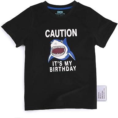 AMZTM Tiburón Camiseta Cumpleaños Bebé Niño Cumpleaños Fiesta Manga Corta Tops