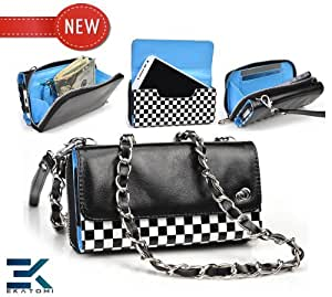 Women's Shoulder Bag Wallet Wristlet Clutch Universal Phone Bag compatible with LG GD510 Pop Case - CHECKERED with GLOSSY BLACK