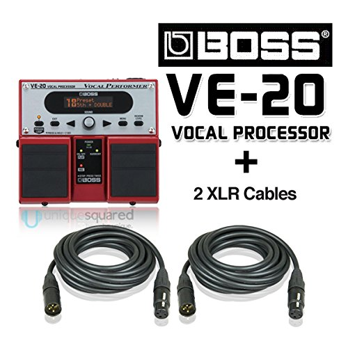 Boss VE-20 Vocal Performer Effects Pedal for Vocalists and XLR Cables by BOSS