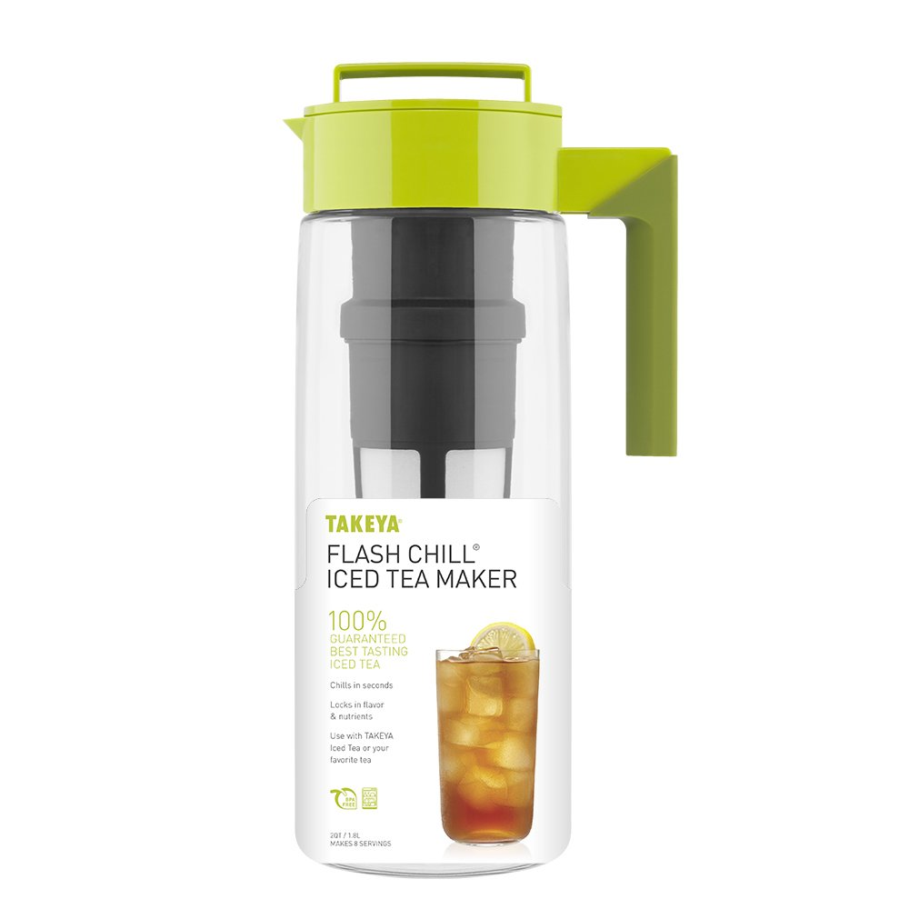 Takeya Iced Tea Maker with Patented Flash Chill Technology Made in USA, 2 Quart, Avocado by Takeya (Image #2)