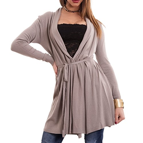 Coprispalle donna lungo cintura lana pull giacca maniche lunghe nuovo CC-1153[Fango,Taglia unica]