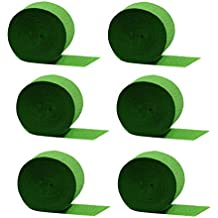 Special Edition Crepe Paper Streamer Party Rolls (Lime Green, 6 Rolls = 435 FEET TOTAL, MADE IN USA