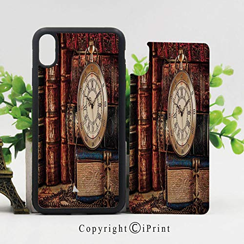- Unique Case for iPhone X, 5.8 inches,Nostalgic Classic Pocket Watch on The Background of Old Books Dated Archive Photo [Flexible Back+Soft TPU Bumper] [Extra Shock Absorption Corner],Multicolor