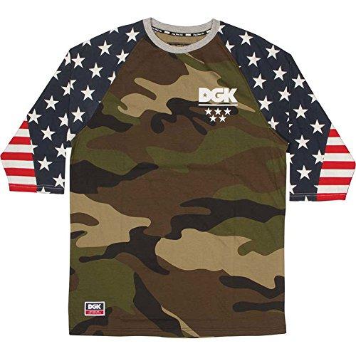 DGK Men's Americana Custom 3/4 Knit Shirt Camo L